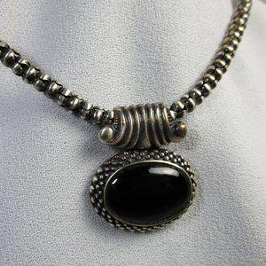 Vintage Silver Onyx Pendant